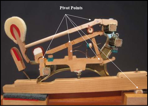 Cut-away photo of the working mechanism (action) of a grand piano