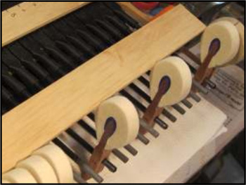 Hammers in a grand piano